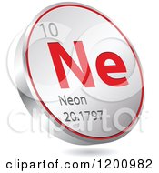 Clipart Of A 3d Floating Round Red And Silver Neon Chemical Element Icon Royalty Free Vector Illustration