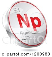 Clipart Of A 3d Floating Round Red And Silver Neptunium Chemical Element Icon Royalty Free Vector Illustration