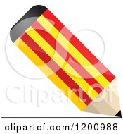 Clipart Of A 3d Writing Catalonia Flag Pencil Royalty Free Vector Illustration by Andrei Marincas
