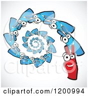 Clipart Of Red And Blue Victory Hands Spiraling Royalty Free Vector Illustration