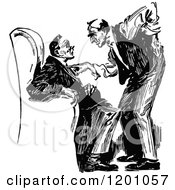 Clipart Of A Vintage Black And White Man Threatening Or Advising Another Royalty Free Vector Illustration