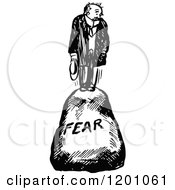 Clipart Of A Vintage Black And White Man On A Fear Boulder Royalty Free Vector Illustration