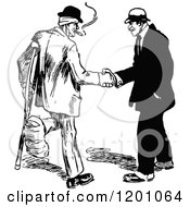 Clipart Of A Vintage Black And White Handshake Between An Injured Man And Another Royalty Free Vector Illustration by Prawny Vintage