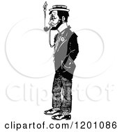 Clipart Of A Vintage Black And White Man Smoking Royalty Free Vector Illustration