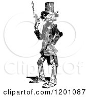 Clipart Of A Vintage Black And White Man Smoking 2 Royalty Free Vector Illustration