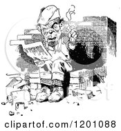 Clipart Of A Vintage Black And White Man Reading And Smoking Royalty Free Vector Illustration by Prawny Vintage