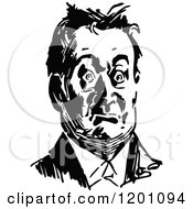 Clipart Of A Vintage Black And White Shocked Man Royalty Free Vector Illustration