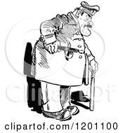 Clipart Of A Vintage Black And White Fat Policeman Royalty Free Vector Illustration by Prawny Vintage
