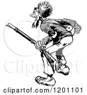 Clipart Of A Vintage Black And White Screaming Man With A Rifle Royalty Free Vector Illustration