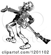 Clipart Of A Vintage Black And White Shouting Man With A Rifle Royalty Free Vector Illustration