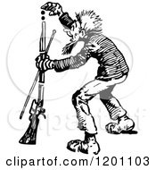Clipart Of A Vintage Black And White Man Loading A Rifle Royalty Free Vector Illustration