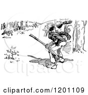 Clipart Of A Vintage Black And White Bear Charging A Hunter Royalty Free Vector Illustration