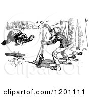Clipart Of A Vintage Black And White Bear Charging A Hunter 3 Royalty Free Vector Illustration