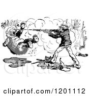 Clipart Of A Vintage Black And White Hunter Shooting A Bear Royalty Free Vector Illustration
