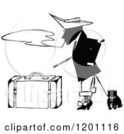 Clipart Of A Vintage Black And White Man With A Dog Smoking By Luggage Royalty Free Vector Illustration