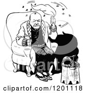 Clipart Of A Vintage Black And White Man Swatting At Flies Royalty Free Vector Illustration