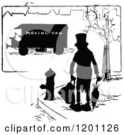 Vintage Black And White Silhouetted Man And Moving Van