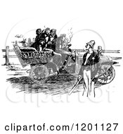 Clipart Of A Vintage Black And White Police Man Holding A Rope And Blocking A Car From A Road Royalty Free Vector Illustration by Prawny Vintage