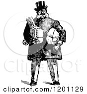 Clipart Of A Vintage Black And White Man Standing With Parcels Royalty Free Vector Illustration by Prawny Vintage