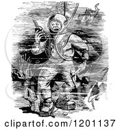 Clipart Of A Vintage Black And White Deep Sea Diver Stepping On A Fish Royalty Free Vector Illustration