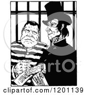 Clipart Of A Vintage Black And White Prisoner And Creepy Man Royalty Free Vector Illustration by Prawny Vintage