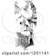 Clipart Of A Vintage Black And White Man Hanging From A Cliff Royalty Free Vector Illustration by Prawny Vintage