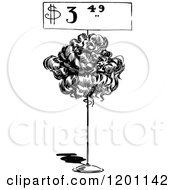 Clipart Of A Vintage Black And White Price Over Wig Royalty Free Vector Illustration