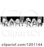 Clipart Of A Vintage Black And White Men Rah Rah Border Royalty Free Vector Illustration