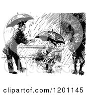 Clipart Of A Vintage Black And White Man And Children In The Rain Royalty Free Vector Illustration by Prawny Vintage