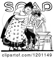 Clipart Of A Vintage Black And White Woman Washing Her Son Over Soap Text Royalty Free Vector Illustration by Prawny Vintage