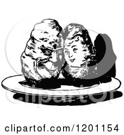 Clipart Of A Vintage Black And White Sweet Potato Couple Royalty Free Vector Illustration by Prawny Vintage