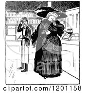 Clipart Of A Vintage Black And White Confused Merchant And Shopping Woman Royalty Free Vector Illustration by Prawny Vintage