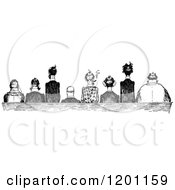 Clipart Of A Vintage Black And White Rear View Of Sitting Men Royalty Free Vector Illustration