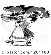 Clipart Of A Vintage Black And White Woman Wearing A Fancy Hat Royalty Free Vector Illustration by Prawny Vintage
