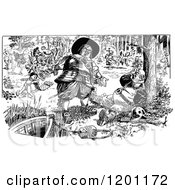 Clipart Of Vintage Black And White Woodland People Royalty Free Vector Illustration