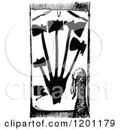 Clipart Of A Vintage Black And White Turkey And Slaughter Tools Royalty Free Vector Illustration