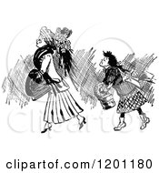Clipart Of Vintage Black And White Two Ladies Walking Royalty Free Vector Illustration