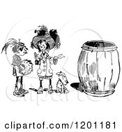 Clipart Of Vintage Black And White Two Girls And Dog By A Barrel Royalty Free Vector Illustration by Prawny Vintage