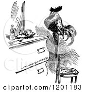 Clipart Of A Vintage Black And White Rooster In Front Of A Vanity Royalty Free Vector Illustration by Prawny Vintage