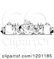 Clipart Of A Vintage Black And White Santa Children Sack And Stocking Border Royalty Free Vector Illustration