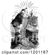 Clipart Of A Vintage Black And White Santa Reading A Letter By Candle Light Royalty Free Vector Illustration