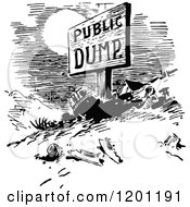Clipart Of A Vintage Black And White Public Dump Royalty Free Vector Illustration