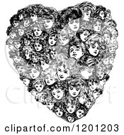 Vintage Black And White Heart Made Of Women