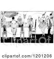 Clipart Of A Vintage Black And White Hostess And Soldiers Royalty Free Vector Illustration