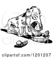 Clipart Of A Vintage Black And White Dog Eating A Sausage Royalty Free Vector Illustration