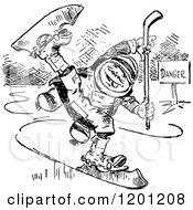 Clipart Of A Vintage Black And White Boy Ice Skating Royalty Free Vector Illustration