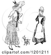 Clipart Of A Vintage Black And White Maid Woman And Dog Royalty Free Vector Illustration
