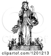 Clipart Of Vintage Black And White Law And Justice Royalty Free Vector Illustration by Prawny Vintage