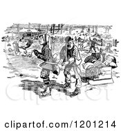 Clipart Of A Vintage Black And White Boy Learning To Ice Skate Royalty Free Vector Illustration
