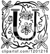 Clipart Of A Vintage Black And White Letter U And Flowers Royalty Free Vector Illustration
